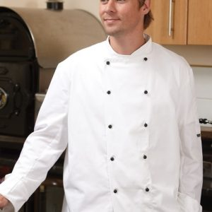 BIG CHEFS! Dennys Long Sleeve Chef Jacket with Removable Studs – White – Sizes XS-3XL