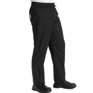 BIG CHEFS! Dennys Le Chef Professional Trousers – Plain Black, Black Check and Blue Check – Sizes XXS-5XL