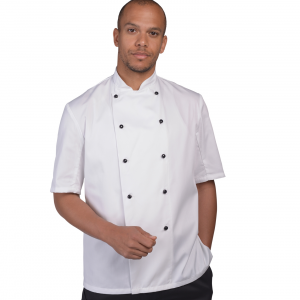 BIG CHEFS! Dennys Short Sleeve Chef Jacket with Removable Studs – White – Sizes XS-3XL