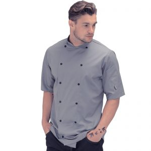 Le Chef Contemporary Style Short Sleeved Chef Jacket – Griffin Grey – Sizes XS-2XL
